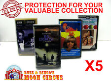 5x VHS MOVIE SMALL CLAMSHELL - CLEAR PLASTIC PROTECTIVE BOX PROTECTORS SLEEVE