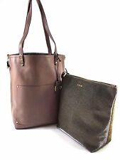 Innue Italian Blush Pink Soft Leather Tote Reverse Metal Gauze Handbag & Purse