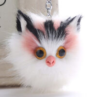 Fashion Fluffy Keychains Cute Cat Key Chain Pompom Fur Car Keyring Bag Pendant