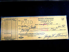 GEORGE STIRNWEISS SNUFFY 1945 BATTING CHAMP YANKEES SIGNED AUTO 1949 CHECK SGC