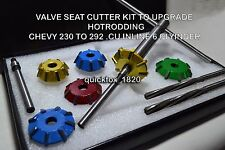 CARBIDE TIPPED VALVE SEAT CUTTERS KIT CHEVY 230 to 292 INLINE 6 and SMALL BLOCK