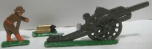 Old 3 pc Lead Army Military Cannon w/ Soldier Loading Artillery Shells