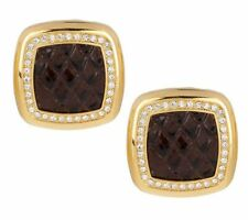 Joan Rivers Python Pattern Brown Leather Crystal Button Goldtone Earrings Qvc