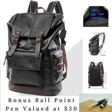 Large Size Men Women Girl Black Leather Work Schoolbag Outdoor Hiking Backpack