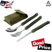 1 set Stainless camping silverware.  Fold-able, water proof pouch w/belt loops