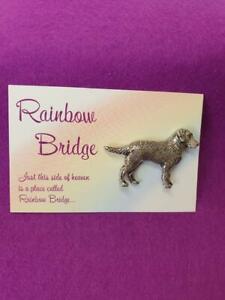 Labrador Dog Rainbow Bridge Silver Pewter Pin Badge  Handmade in Uk.