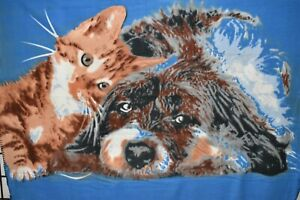 """Northpoint Dog Cat 50"""" x 60"""" Polyester Fleece Throw Blanket Blue Brown Easy Care"""