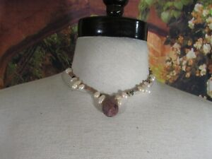 Necklace with Multi Color Beads. Fresh Water Pearls , & a Teardrop Stone Pendant