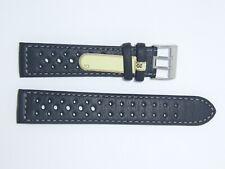 Di-modell Impermeable perforado 20 mm Negro reloj banda correa Rallye Wapro