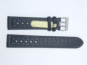 DI-Modell Waterproof perforated 20 mm BLACK Watch Band Strap RALLYE WAPRO