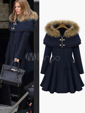 Faux Fur Hooded Fit Flare Swing Coat With Detachable Cape petticoat New US 2