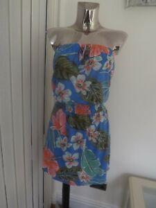 MATALAN BLUE PINK MIX BANDEAU STRAPLESS SUN DRESS SIZE L LARGE  LADIES BNWT