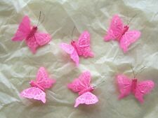 24 Pink Feather Butterflies, approx 5cm , Cakes, Flowers, crafts, Weddings
