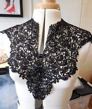 Black or white bridal floral lace collar applique V shape neckline collar motif