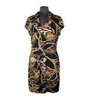Cache Womens Black and Gold Print V Neck Stretch Cap Sleeve Sheath Dress Size XL