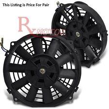 "10"" INCH 12V Slim Fan Push Pull Electric Radiator Cooling Mount Kit Universal x2"