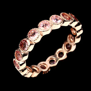 Unheated Round Pink Tourmaline 3mm 14k Rose Gold Plate 925 Sterling Silver Ring