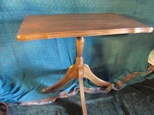solid WOOD TABLE  BRASS CLAW FEET antique vintage END table