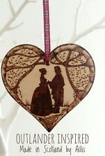 Outlander Inspired silhouette wooden heart wall plaque ornament home decor