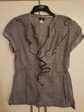 blue & white stripe ruffle blouse 16
