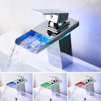 LED RGB Waterfall Tap Bathroom Taps Basin Mixer Bath Single Lever Brass Faucet