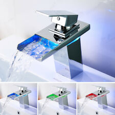 LED RGB Waterfall Tap Bathroom Taps Basin Mixer Bath Single Lever Brass Faucet