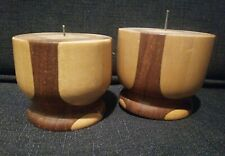 Vintage Pair Of Wood Hand Carved Pillar Candle Holders ~ MCM