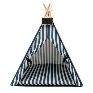 Portable Pet Teepee Tent Foldable Cat Bed Puppy House with Washable Cushion Mat