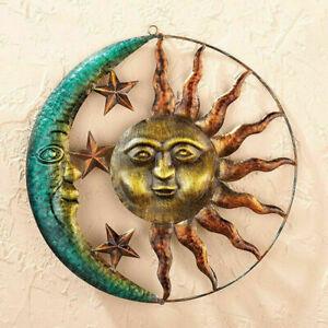 Metal Sun and Moon Stars Hanging Wall Art Sculpture Indoor Outdoor Art Decor US
