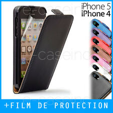 Coque, Housse, Etui iPhone 4 / 4S / 5S / 5C / SE - CUIR LEATHER CASE FLIP +Film