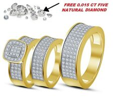 Yellow Gold Over Diamond Bridal Engagement Ring His And Her Trio Wedding Set