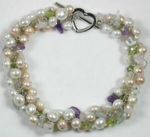 STATEMENT Pearl Peridot Blue Topaz Bracelet Wedding Bridal