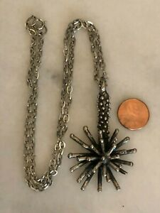 Vintage Robert Larin Brutalist Pewter Necklace Pendant Canadian Modern Art WOW!