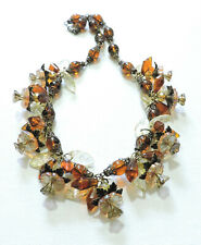 Vintage Amber Yellow Flowers Leaves Lampwork Art Glass Bead Necklace Jl20Bn112