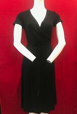 BNWT THE WHITE COMPANY White Label Black Frill V Wrap Dress UK 8 RRP £89