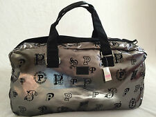 VICTORIA SECRET PINK,DUFFLE BAG/ TRAVEL LUGGAGE TOTE,GUNMETAL /VELVET SUEDE NEW