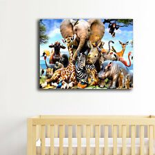 Jungle Animals Stretched Canvas Prints Framed Wall Art Home Decor Painting Gift