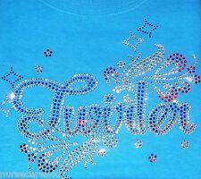BATON TWIRLING RHINESTONE T SHIRT BLUE CRYSTAL RHINESTONES TWIRLER ADULT KIDS