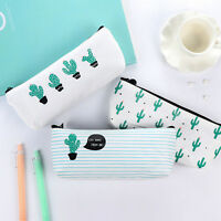 Cactus Printed Canvas Pencil Case Pen Pouch Writing Stationary Cosmetic Bag