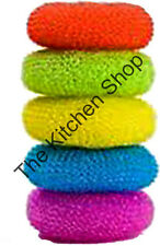 Scouring Scrub Pads 5 Pack Nylon Mesh Multi Color Scrubbers - Kitchen Tools