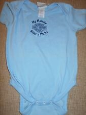 """Harley """"My Mommy Rides A Harley"""" Blue  One Piece Size 6 -12- 24 Mo"""