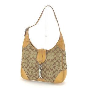 Coach Shoulder bag Signature Beige Brown Woman Authentic Used C1904