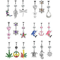 14G Belly Button Ring Dangle Navel Bar Set Piercing Body Jewelry 3 Pieces