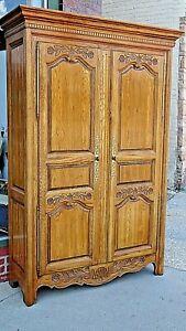 Oak Armoire wood carved flowers double door wardrobe cupboard cabinet by Baker