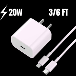 20W Power Adapter PD USB-C Cable For iPhone 12 11 Pro Max XR 8 iPad Fast Charger