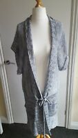 Cardigan 18 fits 16 blue grey POETRY 100% linen knee length long