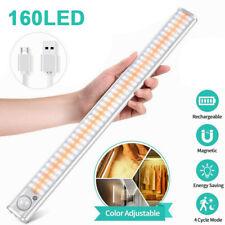 160led Under Closet Lamp PIR Motion Sensor Cabinet Night Light USB Rechargeable
