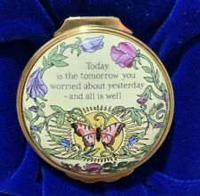 """Halcyon Days Enamels Box """"Today is the Tomorrow You Worried About Yesterday-New"""
