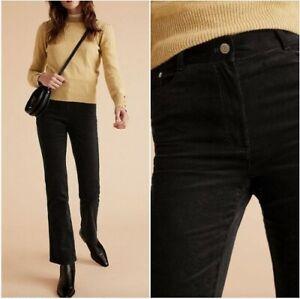 P BNWT M&S PER UNA High Rise Black Cords Slim Fit Flare Trousers 12 16   (ST116)