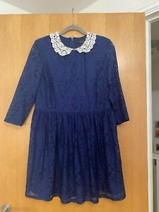 Topshop Navy and White Peter Pan Collar Lace Fit and Flare Skater Dress UK 16